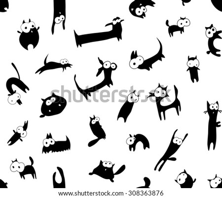 Seamless background with funny animals in black and white. - stock vector