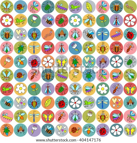 Seamless background with funny insects on stickers. Cute fly, butterfly, dragonfly, snail, beetle, caterpillar, ant, spider, ladybug, grasshopper, bee, mosquito. Childish illustration. - stock vector
