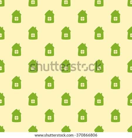 Seamless background with green houses on flaxen background. For textile, wrapping paper, wallpaper, boxes decoration, other packing elements - stock vector