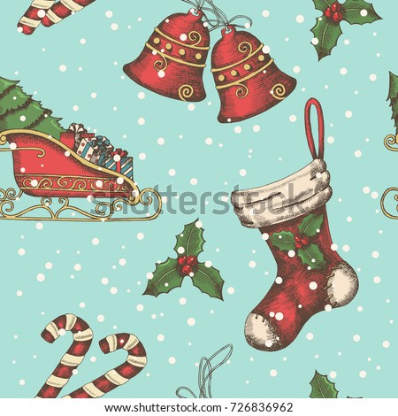 Seamless background with hand drawn bells, santa's sleigh, candy, holly and sock. New year. Christmas pattern can be used for wallpaper, web page background, surface textures, textile, package, banner