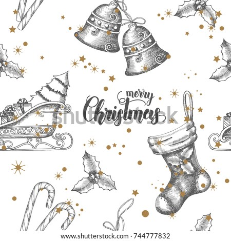 Seamless background with hand drawn doodle bells,santa's sleigh,candy,holly and sock.New year.Christmas pattern can be used for wallpaper, web page background, surface textures, textile,package,banner