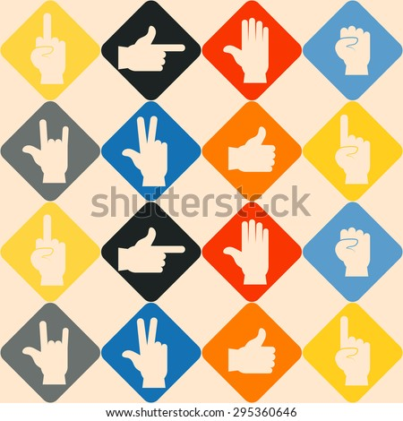 Seamless background with hands and finger icons for your design