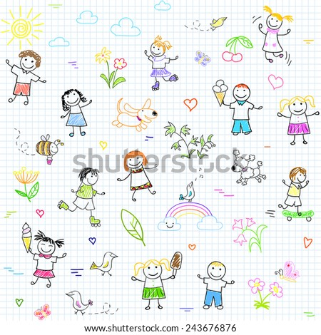 Seamless background with happy friends, playing outdoors. Sketch on notebook page - stock vector
