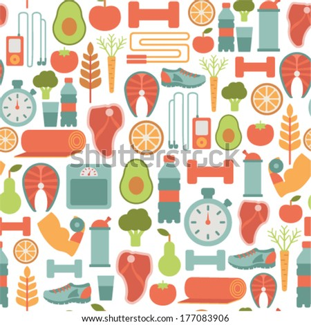 stock vector seamless background with healthy life icons 177083906 - Каталог — Фотообои «Еда, фрукты, для кухни»