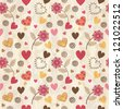 Seamless background with hearts and flowers - stock vector