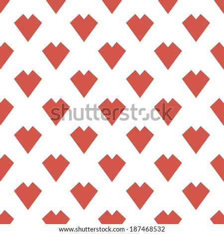 seamless background with Hearts game suit on a white background - stock vector