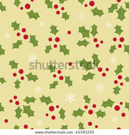 Seamless background with holly berry and snowflakes - stock vector