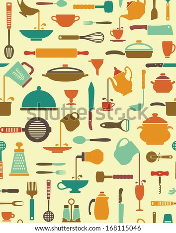 Seamless background with icons of kitchen ware and utensils