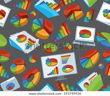 Seamless Background With Info-graphic Elements - stock vector