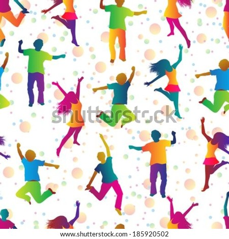 seamless background with jumping people in bright clothes  - stock vector