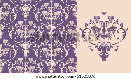 Seamless background with lamps - stock vector