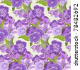 Seamless background with large violet lilac flowers - stock vector