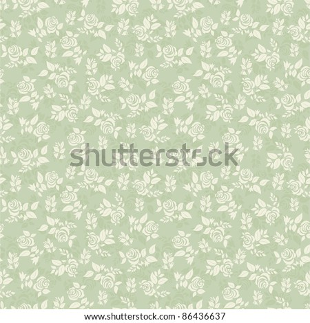 Seamless background with light green roses - stock vector