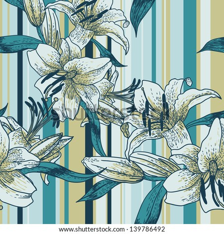 Seamless background with lilies in vintage style on a striped background - stock vector