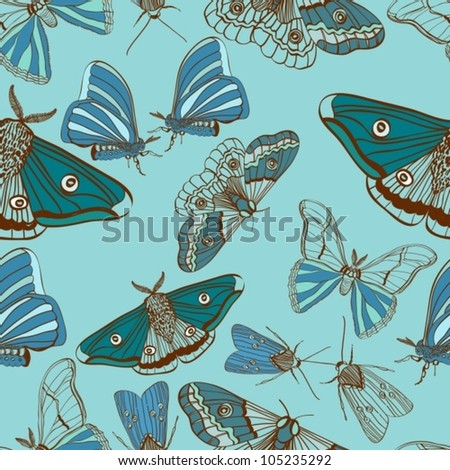 Seamless background with moth, for design, vector illustration