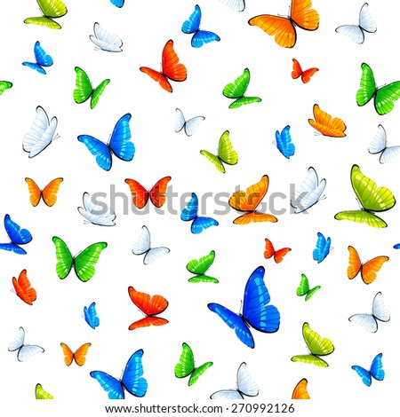 Seamless background with multicolored butterflies, illustration. - stock vector