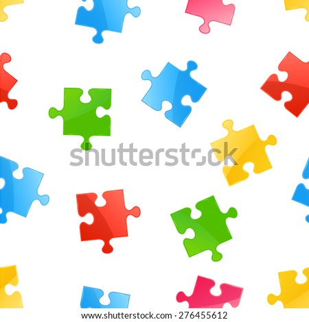 Seamless background with multicolored puzzle elements, illustration.