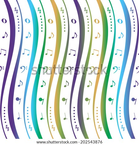 Seamless background with music notes pattern  - stock vector