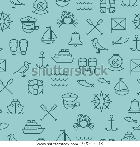 Seamless background with nautical icons and symbols - stock vector