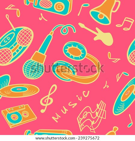Seamless background with objects on a musical theme.  - stock vector