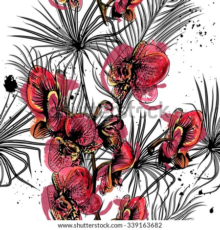 Seamless background with orchid flowers and tropical palm leafs in engraved and watercolor styles - stock vector