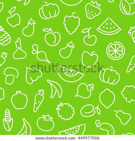 Seamless background with outline pictures of fruits and vegetables - stock vector