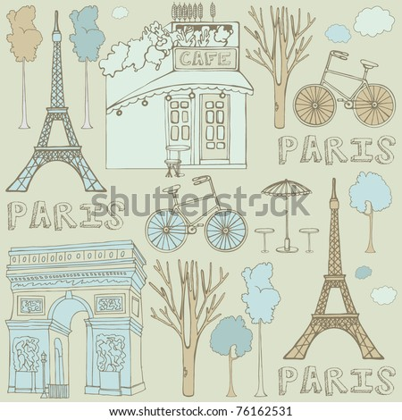 seamless background with Paris - stock vector