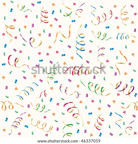 Seamless background with party streamers and confetti, illustration - stock vector