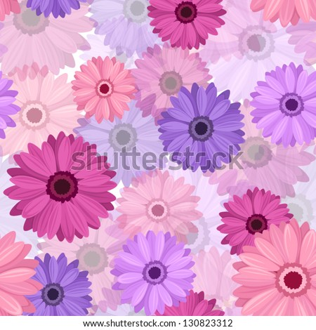 Seamless background with pink and purple gerbera. Vector EPS-10. - stock vector