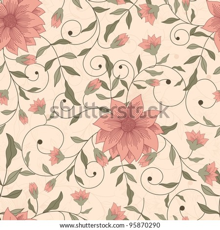 Seamless background with pink flowers - stock vector