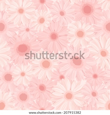 Seamless background with pink gerbera flowers. Vector illustration. - stock vector