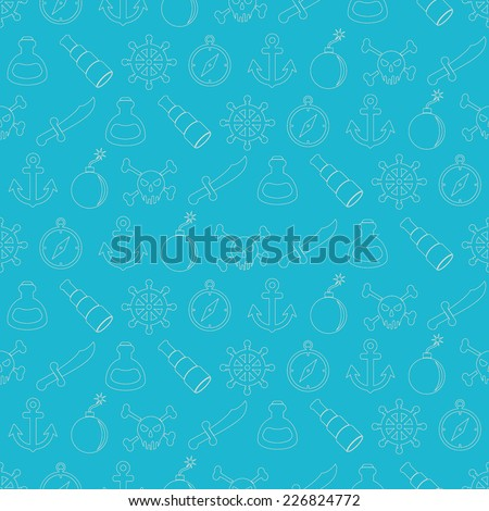 seamless background with pirate stuff - stock vector