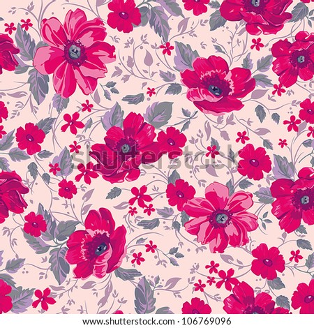 Seamless background with plant motifs in a retro style, fashion seamless pattern. Beautiful vector illustration texture. - stock vector