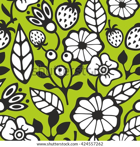 Seamless background with plants and flowers. Vector pattern for spring or summer time. - stock vector