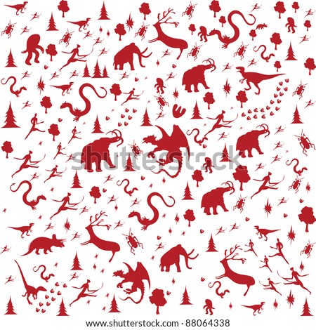 seamless background with Prehistoric Era, animals in red color - stock vector