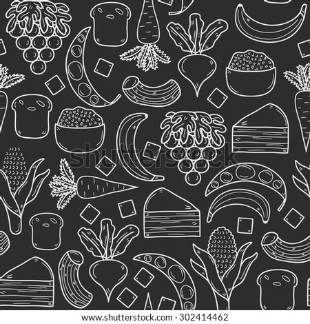 Seamless background with products prohibited during paleo diet in hand drawn cartoon outline style: corn, cake, rice, carrot, bread, bean, sugar. Healthy food concept for your design