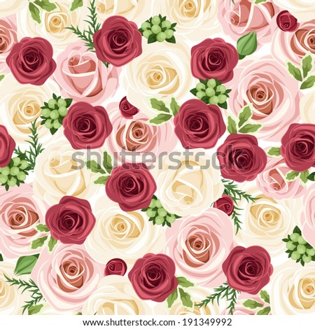 Seamless background with red, pink and white roses. Vector illustration. - stock vector