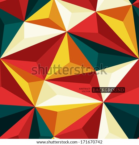 Seamless background with relief triangles - stock vector