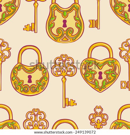 Seamless background with retro gold keys and locks with a floral pattern - stock vector