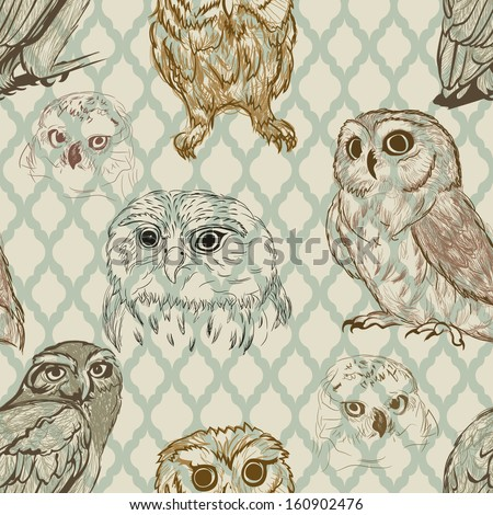 Seamless background with retro owl sketches - stock vector