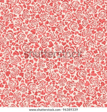 Seamless background with roses and hearts - stock vector