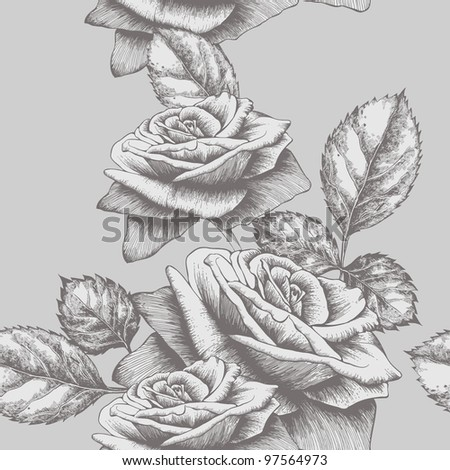Seamless background with roses blooming, hand-drawing. Vector illustration. - stock vector