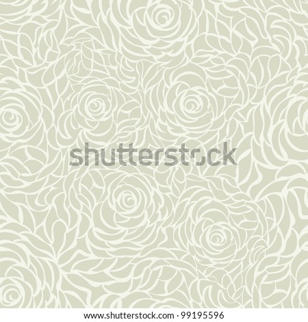 Seamless background with roses, green - stock vector