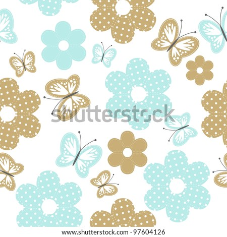 seamless background with scrapbook flowers and butterflies - stock vector