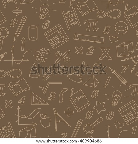 Seamless background with simple icons on the theme of mathematics and learning , Sepia