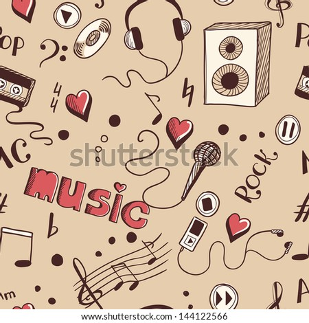 Seamless background with sketch music elements - stock vector