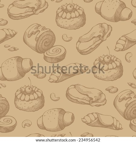 Seamless background with sketch pastries, sweets, desserts. Pattern with hand drawn elements
