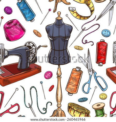 seamless background with sketch tailoring equipment. mannequin, sewing, sewing machine. hand-drawn illustration - stock vector