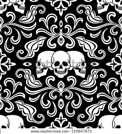 Seamless background with skulls ornament - stock vector