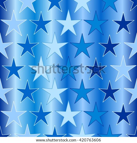Seamless background with slue stars on white - stock vector